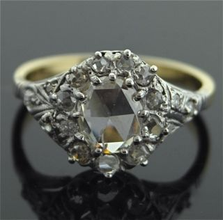 Antique 14k White Yellow Gold Rose Cut Diamond Ring