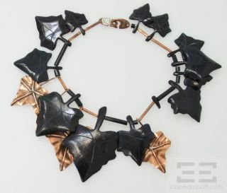 Gerda Lynggaard MONIES Dark Green Copper Leaf Shaped Necklace