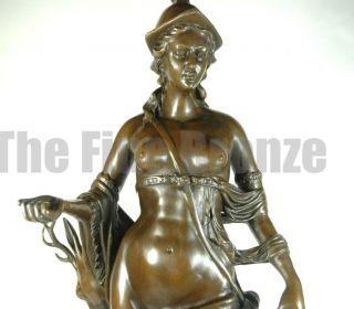 Signed H Gerhard Bronze Sculpture Diana The Huntress
