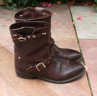 Authentic Golden GOOSE Biker Boots s 40 Moto Brown Leather Short