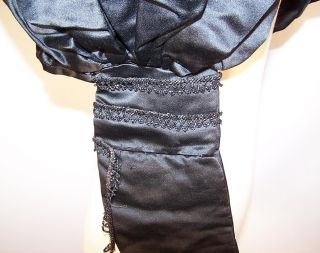Victorian Mourning Black Silk Jet Beaded Gigot Leg of Mutton Sleeves