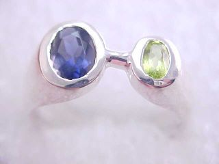 25ct Iolite Peridot Sterling Silver Ring Sz 6 NoRes