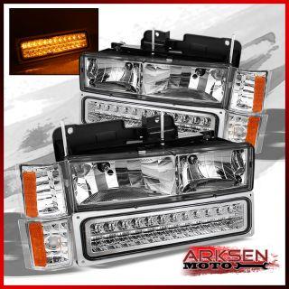 94 99 GMC C K Pickup Yukon Suburban Sierra Headlights Corner Full LED
