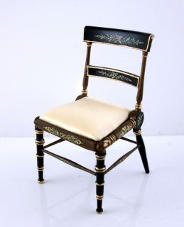 Dolls House Miniature Bespaq Finest Furniture Black Gold Chair