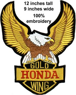 Giant Honda Gold Wing Back Patch 100 Embroidery 9 inches x 12 Inches