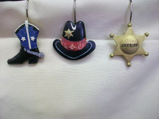 Giddy Up Cowboy Boots Hat Sherriff Badge Shower Hooks