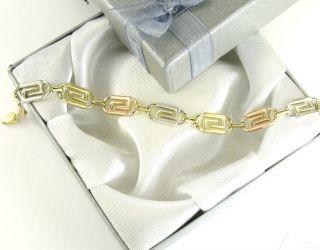 10K Solid Gold Versace Greek Design Link Chain Lady Bracelet