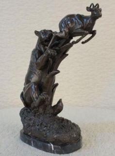 Bronze Sculpture Cheetah Attacking Gazelle Figurine Statue Figure