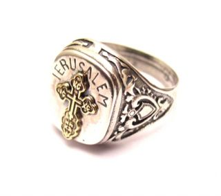 Silver Ring with Gold Cross from Jerusalem