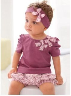 New Girl Baby Short Top Pants Headband Set 0 36M Cotton 3 Pcs Costume