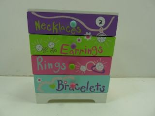 Little Girls Pink Purple Jewelry Box with Drawers Childrens Toys