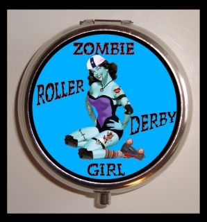 Roller Derby Zombie Girl Pin Up Pinup Pill Box Pillbox