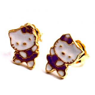 Gold 18K GF Girl Baby Kids Purple Ballerina Hello Kitty Earrings