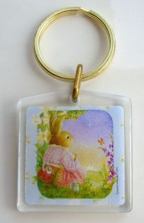 Susan Wheeler Bunny Holly Pond Hill Gold Key Ring Chain