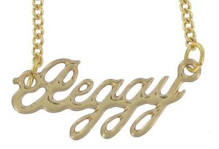 Script Gold Tone Charm Necklace Choice of Name P V