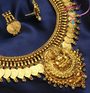 Gold Plated Antique Necklace Temple Jewellery Indian Earrings Red
