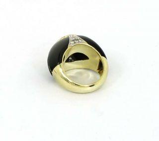 Unique Vintage 14k Gold Diamonds Onyx Band Ring