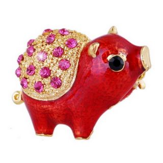 1P Lovely Pig Red Gold Plating Alloy Pin Brooch with Rhinestone Free