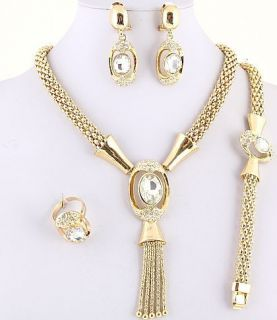 Royal Gold Plated Necklace, Bracelet, Earring & Ring Set w/ Rhinestone