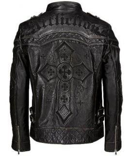 Black Premium Leather Jacket GEAR UP Limited sz M 10OW463B