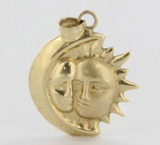Estate 14k Yellow Gold Moon Sun Face Pendant Celestial Jewelry Vintage
