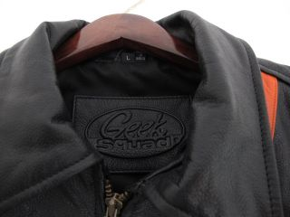 Geek Squad 5 Year Black Leather Jacket Mens Large