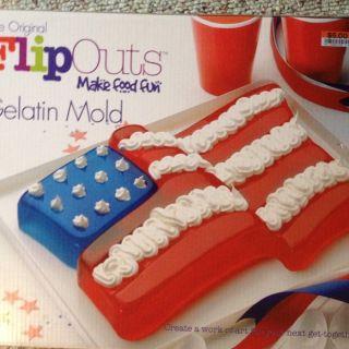 NEW The Original FlipOuts Gelatin Jello Mold Red White Blue US Flag