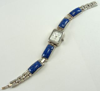 Sterling Silver Gem Time Watch Bracelet Band Roman Numeral Lapis New