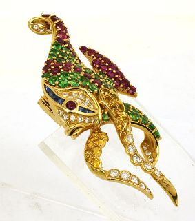 18K Gold 22 02 cts Diamonds Gems 3D Angel Fish Pin Brooch