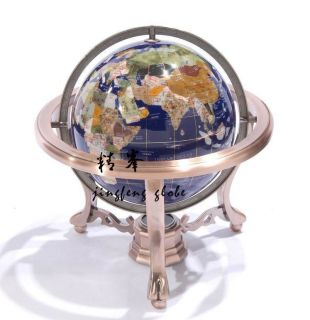 330mm New Gemstone World Globe Bronze Stand Earth Map Home Office