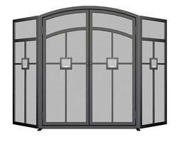 FOLDING FIREPLACE SCREEN GLASS BLOCK MISSION STYLE 2 OPENING DOORS