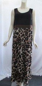 Susan Graver 1X Animal Print Maxi Dress w/Liquid Knit Bodice Neutral