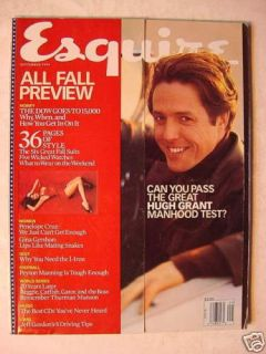 Esquire Magazine September 1999 Hugh Grant Gina Gershon