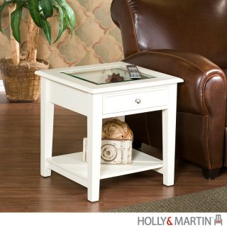 Somerset White End Storage Wood Table Glass Top Holly Martin Furniture