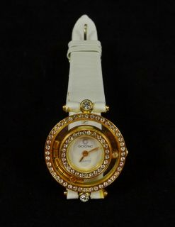 Vintage Giordano Ladies Watch Quartz Women Rhinestones Gold Tone White