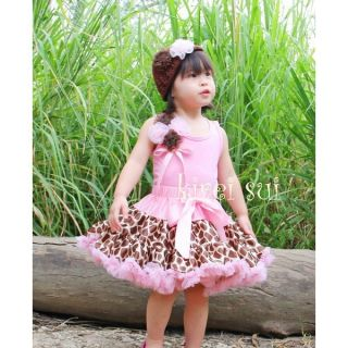 Brown Giraffe Light Pink Ruffles Pettiskirt Rose Top 2pc Party Dress 1