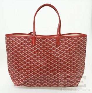 Goyard Red Chevron Canvas Saint Louis PM Tote Bag
