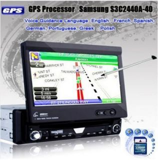 Single DIN 7Touch Screen in Dash Car GPS DVD Player Bluetooth iPod