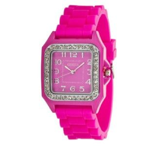 Geneva Silicone Square Face Watch w Rhinestone Hot Pink