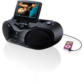 GPX BT780B Portable DVD/CD/AM/FM Radio Boombox with 7 Inch LCD Display