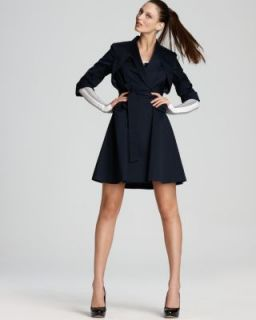 Jones New York New Navy Cuff Long Sleeve Belted Wrap Flare Coat Jacket