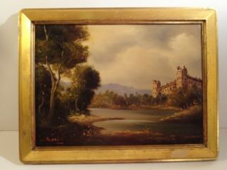 Vintage Antique Italian Oil Painting Signed Gori Gorine Castle Scene
