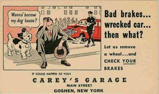 Goshen New York NY 1950s Car Wreck Policeman Careys Garage