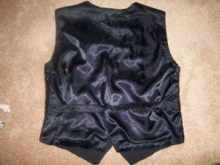 Vtg Effeci Black Silver Gold Sequin Vest L