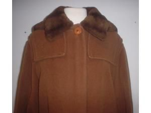 Giuliana Teso Brown Virgin Wool Faux Fur Trim Coat 42 8