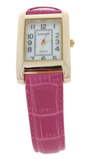 Gossip Goldtone Rectangle Case Primary Color Pink Strap Fashion Watch