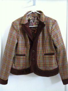 Robert Graham Womens Brown Ginger Floral Wool Jacket Blazer S