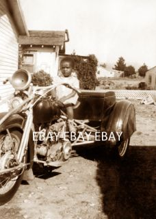 1900s Black African American Girl Harley Davidson Indian Motorcycle