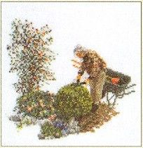 Thea Gouverneur Gardener Flower Garden Cross Stitch Kit