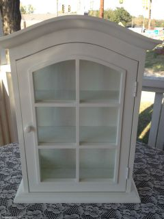 Wood Wall Display Curio Cabinet Wshelves Glass White Finish